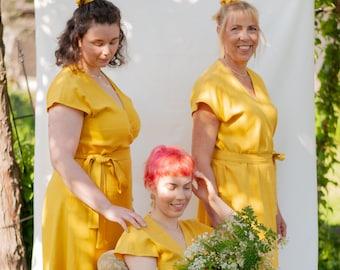 DAIKO - Wrap dress, yellow from viscose linen