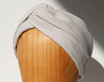 BELLA cream white hairband with knots in viscose linen, turban, headband