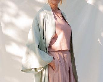 KAORI - Kimono, Pastel Green viscose linen, light green