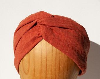 BELLA copper hairband with knots made of 100% cotton muslin, turban, headband