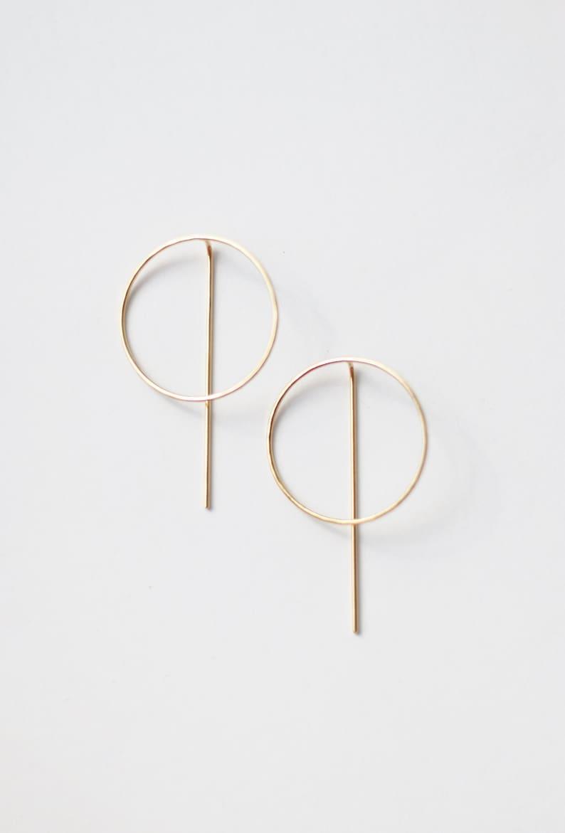 Grace. Brass silver or copper earrings Messing