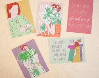 5 postcards