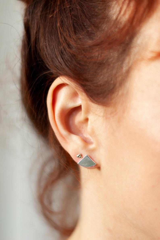Amelie. 1/4 stud earrings in 925 silver copper or brass 925er Silber