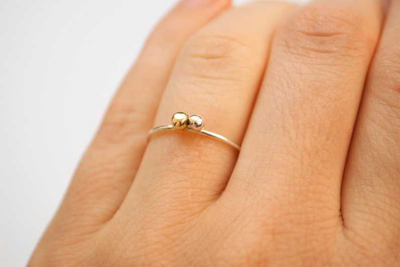 PIA 2nd small dots ring in silver and brass image 0