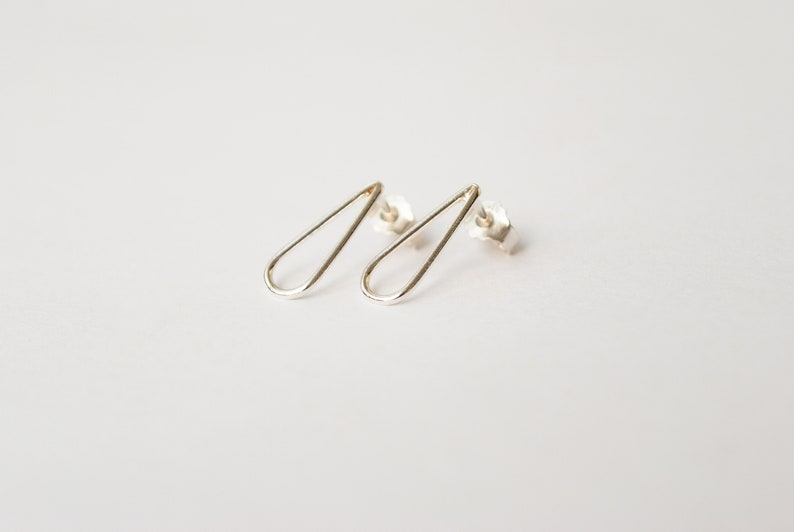 Romy. drop stud earrings available in silver copper or brass image 0