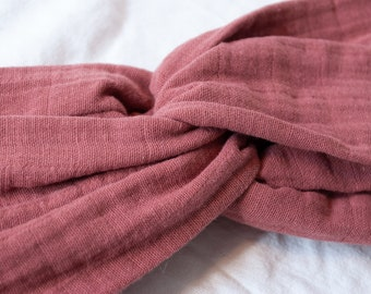 BELLA old pink hairband with knots made of 100% cotton muslin, turban, headband