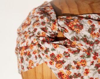 BELLA flowers hairband with knots made of 100% cotton muslin, turban, headband