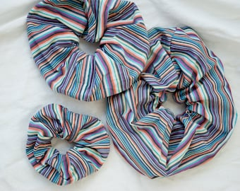 Scrunchies made of striped vintage fabric