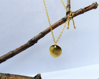 Initial Charm Necklace with Wishbone