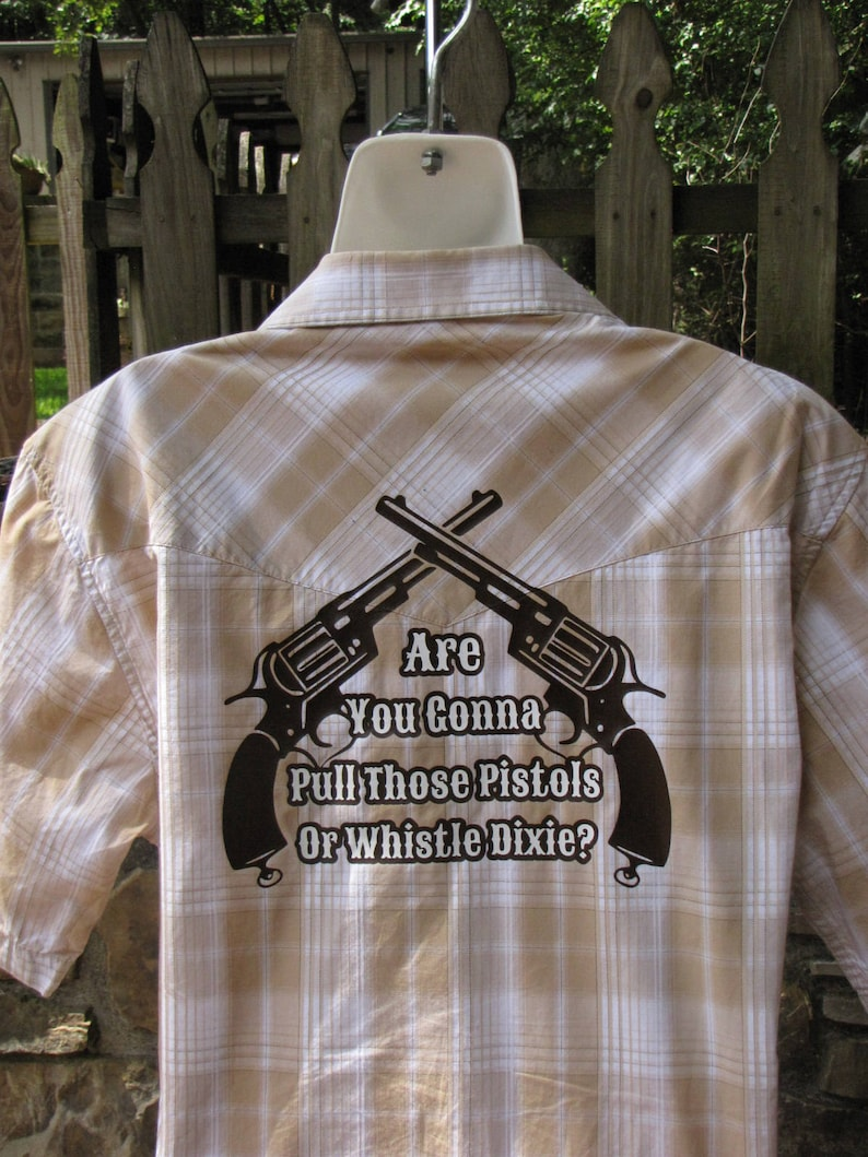 Vintage Men's Plaid Short Sleeved Western Larry Mahan Shirt with Pearl  Snaps and Custom Clint Eastwood Quote from Outlaw Josey Wales