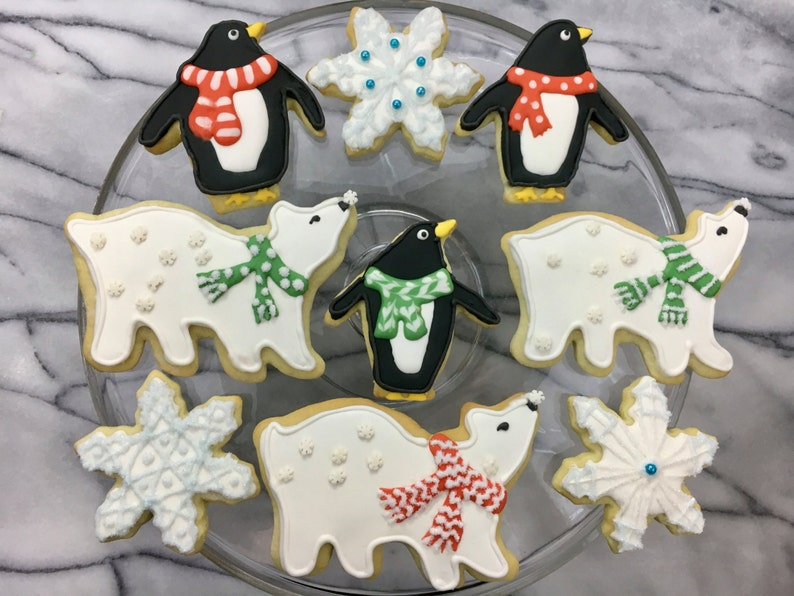 Polar Bears And Penguins Festive Christmas Winter Cookies