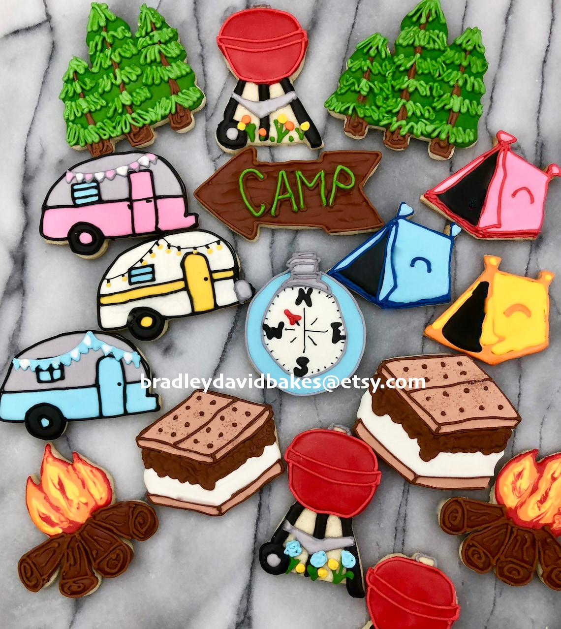 Custom Hand Crafted Camping Themed Cookies