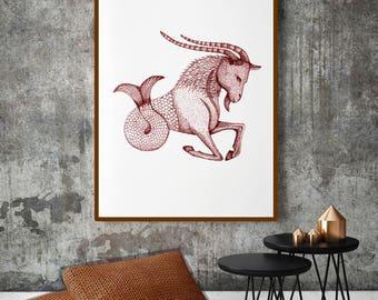 Zodiac Print Art; Capricorn Painting; Personalized gift; Capricorn Gift; Capricorn Star Sign; Capricorn Poster; Zodiac Art; Zodiac Wall Art