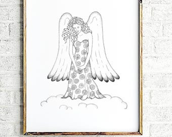 Guardian angel print art, minimalist angel painting, angel poster print, inspirational nursery room art, angel wall decor art by JurgaDream