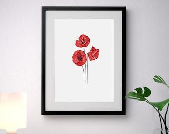 "Poppy original painting 16x20"", red flowers art, floral wall decor, botanical home decor, original flower painting, poppies by JurgaDream"
