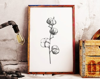 Cotton Bolls Ink Painting, Cotton Flowers Black Grey Home Decor, Floral Wall Art Print, Cotton Ball Illustration, cotton flower wall decor