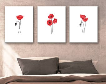 Set of 3 prints red Poppies, Flower Painting, red flowers print art, flower minimalist painting, red wall decor, abstract floral art print