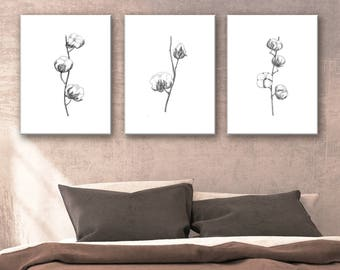 White Black Minimalist Flower Stippling Fine Art Print, Cotton Painting Shabby Chic Decor, Floral Wall Decor, Cotton Bolls Rustic Decoration