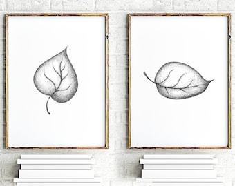 Leaves print, leave art, botanical painting, minimalist art, black white wall decor, floral wall art print, set of 2 prints, grey prints set