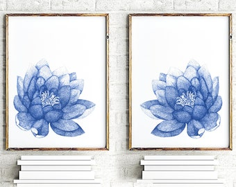 Navy blue Lotus Set of 2 Flowers Art Print, Water Lily Painting, Floral Illustration Bedroom Art, Modern Wall Decor, Abstract Flower Poster