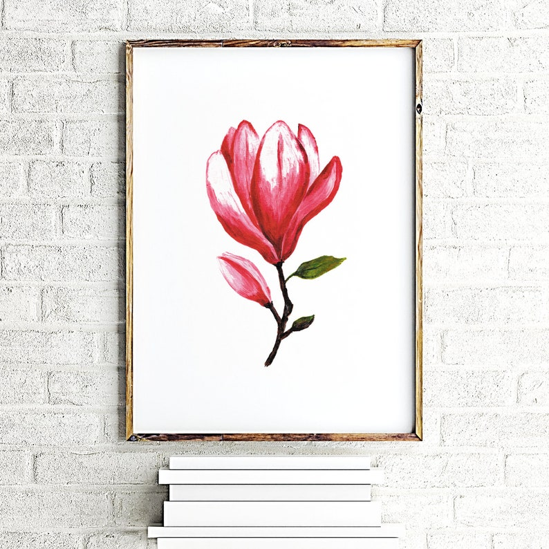Magnolia Flower Print Floral Wall Decor Magnolia Painting Acrylic Floral Poster Botanical Print Art Living Room Decor Nursery Wall Art