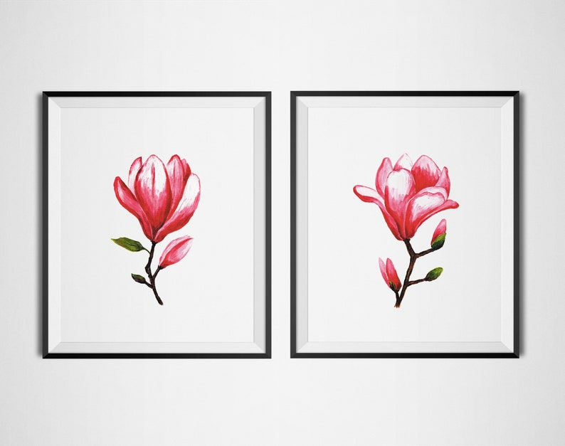 Magnolia Flower Wall Art Floral Wall Print Bedroom Pink Flower Wall Decor Original Magnolia Acrylic Painting Botanical Prints Set Of 2