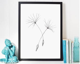 Dandelion flower Grey Home Decor, Dandelion Seeds Art Minimalist Painting, Abstract Flowers Illustration, Rustic Flower Sign Gifts for Women