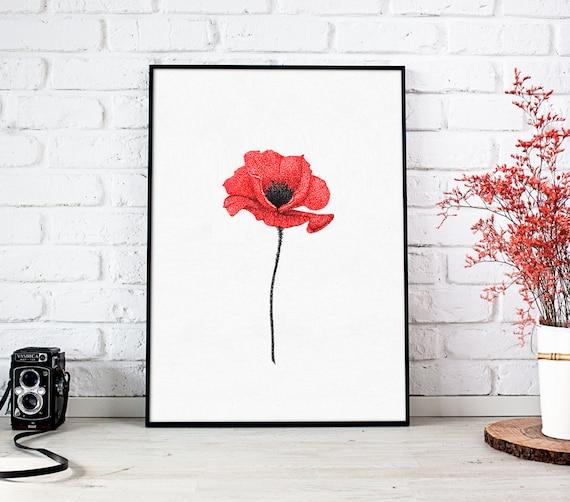Poppy flower print art red flowers wall art print botanical etsy image 0 mightylinksfo