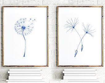 Teal Dandelion Wall Art, Set of 2 prints, Nursery Art print, Minimalist Print Art, Flowers Home Decor, Flower Painting, Floral Wall Decor