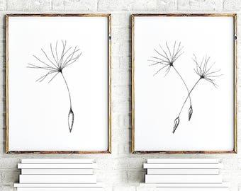 Dandelion seed minimalist art set of 2, floral wall decor, dandelion poster, bedroom wall art flowers painting, modern flower art print set
