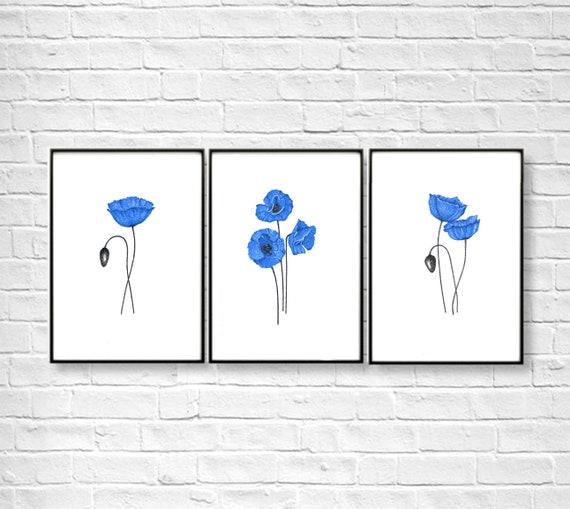 Printable flower art navy blue flowers wall art botanical | Etsy