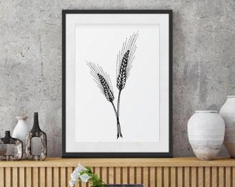 Black & White poster, Minimalist Art Print, Wheat Ink Painting, Kitchen Decor, Botanical Wall Art; Floral Decoration; Grass wall decor print