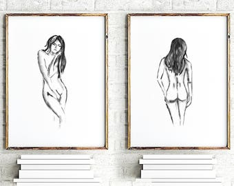 Abstract nude art print set of 2, naked female painting, watercolor painting nude woman, girl nude drawing, minimalist art wall prints black