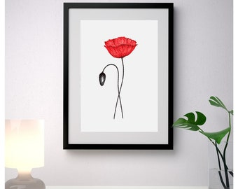 Red poppy print art, flowers wall art print, floral Wall Art, botanical home decor, flower painting, minimalist art, bedroom decor, poppies