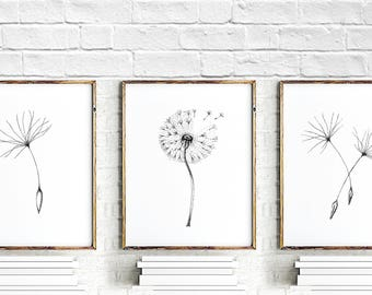 Dandelion Flower Painting, bedroom wall decor, Dandelion flower wall art print set of 3, flowers art, dandelion poster, dandelion wall print