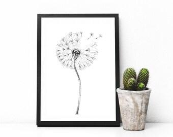 Dandelion Wall Art, Dandelion Print, Floral wall art, Flower Print, botanical Art, Black and White Print, Flower Poster bedroom decor