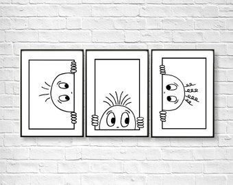 Set of 3 Baby Wall Art prints; Childrens wall art, Nursery Room Wall Decor; Kids Room Art; Funny Nursery Gift; Curious Face; Emotions print