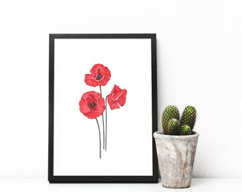 Floral wall art, red flowers print, bedroom decor, minimalist art poster, poppies wall decor, botanical print, red home decor by JurgaDream