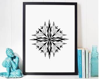 Geometric mandala wall art; Office Decor Black and White print art, abstract painting, Living Room Decoration, minimalist geometric drawing