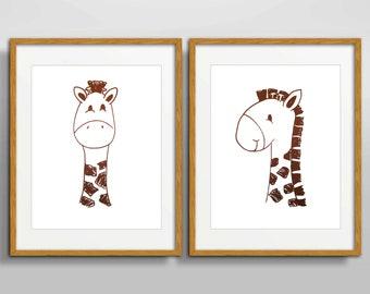 Set of 2 prints Brown Giraffe baby Wall Art Printable Gift for kids; Nursery room decor; Giraffe illustration; Digital Safari Animal prints