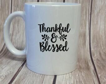 Thankful and Blessed Coffee Mug - Holiday Gift Idea - Thanksgiving Gift - Fall Designed Mug - Custom Coffee Mug - Gift for Boss