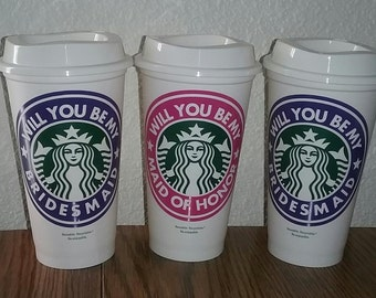 Maid of Honor Cups - Starbucks Cup - Bridesmaids Gift - Coffee Cups - Gift for Friends - Travel Coffee Cup - Wedding Party Gift