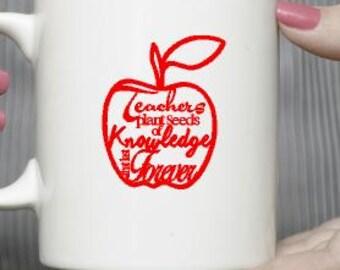 Apple mug- Christmas gift mug-Fruit mug-Coffee mug-Ceramic mug-Holiday gift- Gift for friend- Vinyl mug- Teachers gift