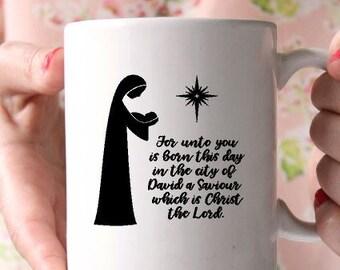 Jesus mug-Christmas gift  mug-Scripture mug-Coffee mug-Ceramic mug-Religious gift-Holiday gift- Gift for friend- Vinyl mug- Teachers gift