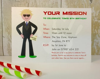 Pack of 16 Spy Party Personalised Invites or Thank You Cards