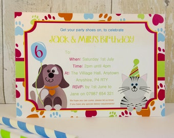 Pack of 16 Cat and Dog Personalised Invites or Thank You Cards
