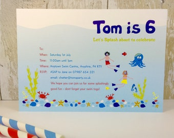 Pack of 16 Swimming Pool Party Personalised Invites or Thank You Cards