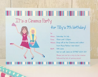 Pack of 16 Cinema Party Personalised Invites or Thank You Cards