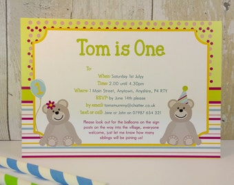 Pack of 16 Teddy Bear's Picnic Personalised Party Invites or Thank You Cards