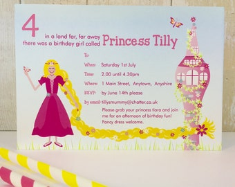 Pack of 16 Rapunzel Personalised Party Invites or Thank You Cards